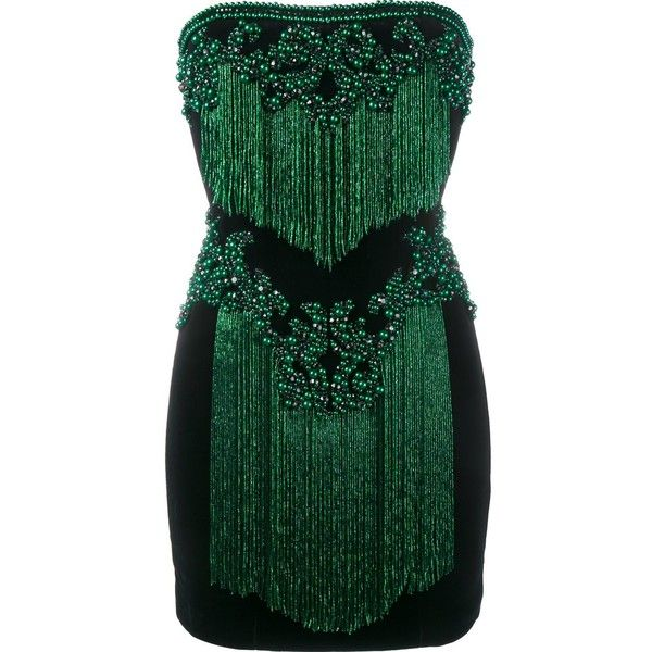 See this and similar Balmain cocktail dresses - Black and green cotton  strapless embellished dress from Balmain featuring beaded embroidery,  crystal ...