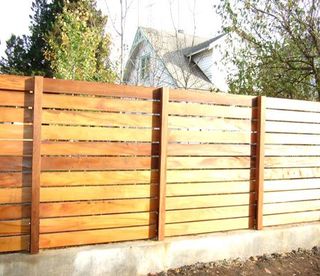 Horizontal Fence   Nice And Simple. Gives Privacy Without Being Antisocial.