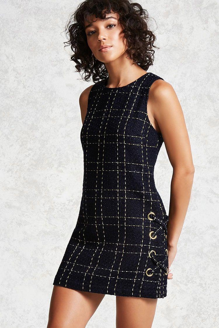 Product Name:Grid Tweed Mini Dress, Category:dress, Price:27.9