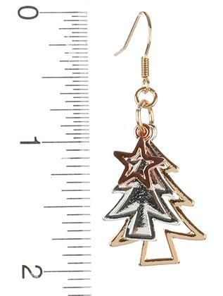 Metal Christmas Tree Charm Star Earrings Metals and Products