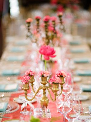 A clever way to cut down on flower costs... use an inexpensive candelabra