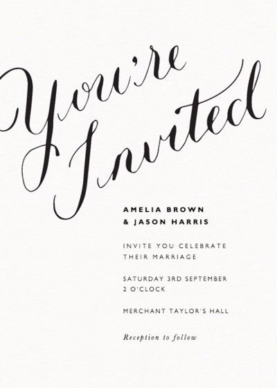 You're Invited Calligraphy | Wedding | Wedding calligraphy, Calligraphy, Wedding Invitations