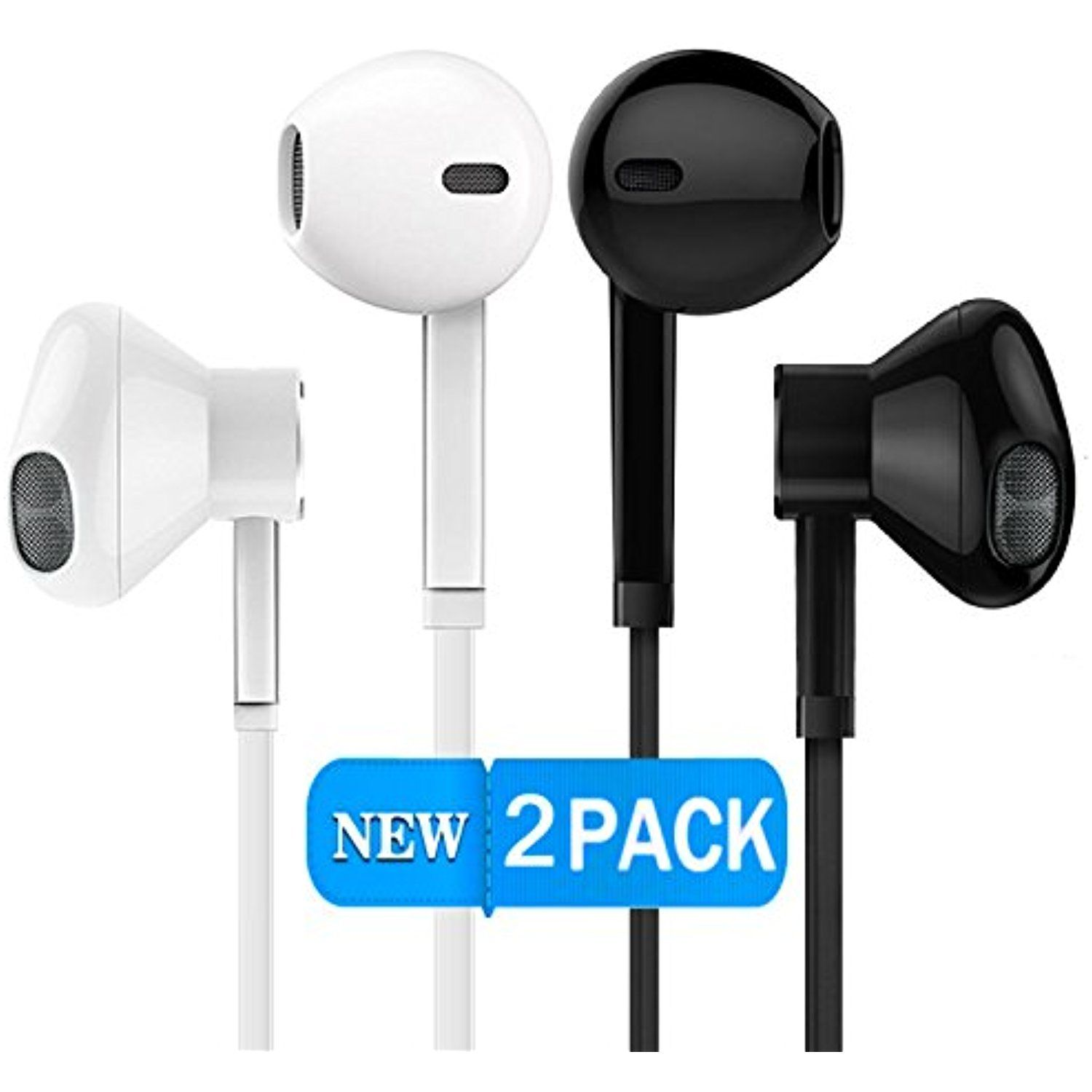 2 Pack Earphones With Microphone Premium Earbuds Stereo Headphones And Noise Isolating Headset For Apple Iphone Ipod Ipad Samsung Earbuds Earphone Headphone