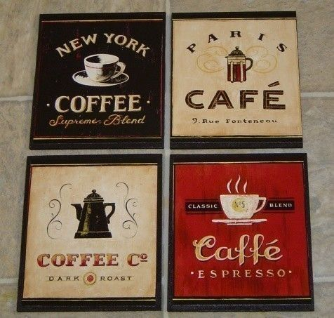 4 COFFEE CAFE WALL PLAQUES Pictures SIGNS. Kitchen Or Restaurant Wall Decor.  SHIPS WITHIN 24 HRS | Cafe Wall, Coffee Signs And Coffee Cafe