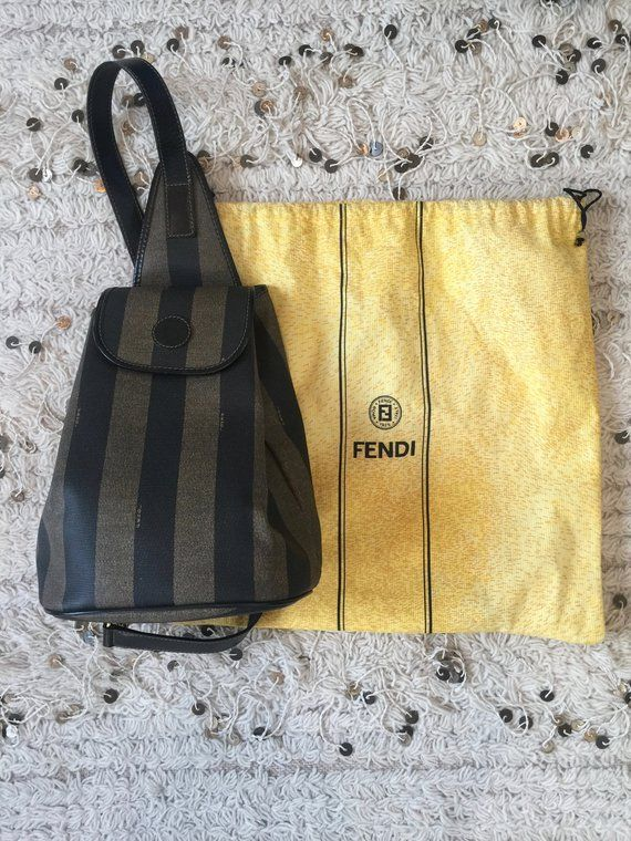 d43a6b55ee83 Vintage FENDI FF Logo Pequin Stripe BACKPACK Sling Rucksack Travel Purse  School Body Bag Tote Zucca
