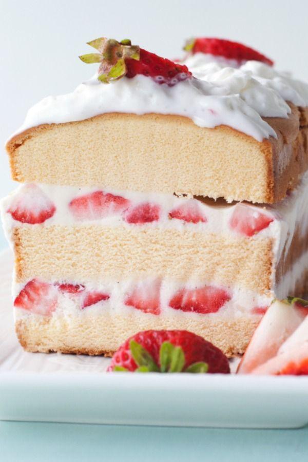 Super easy layered strawberry shortcake ice cream cake for summer entertaining!