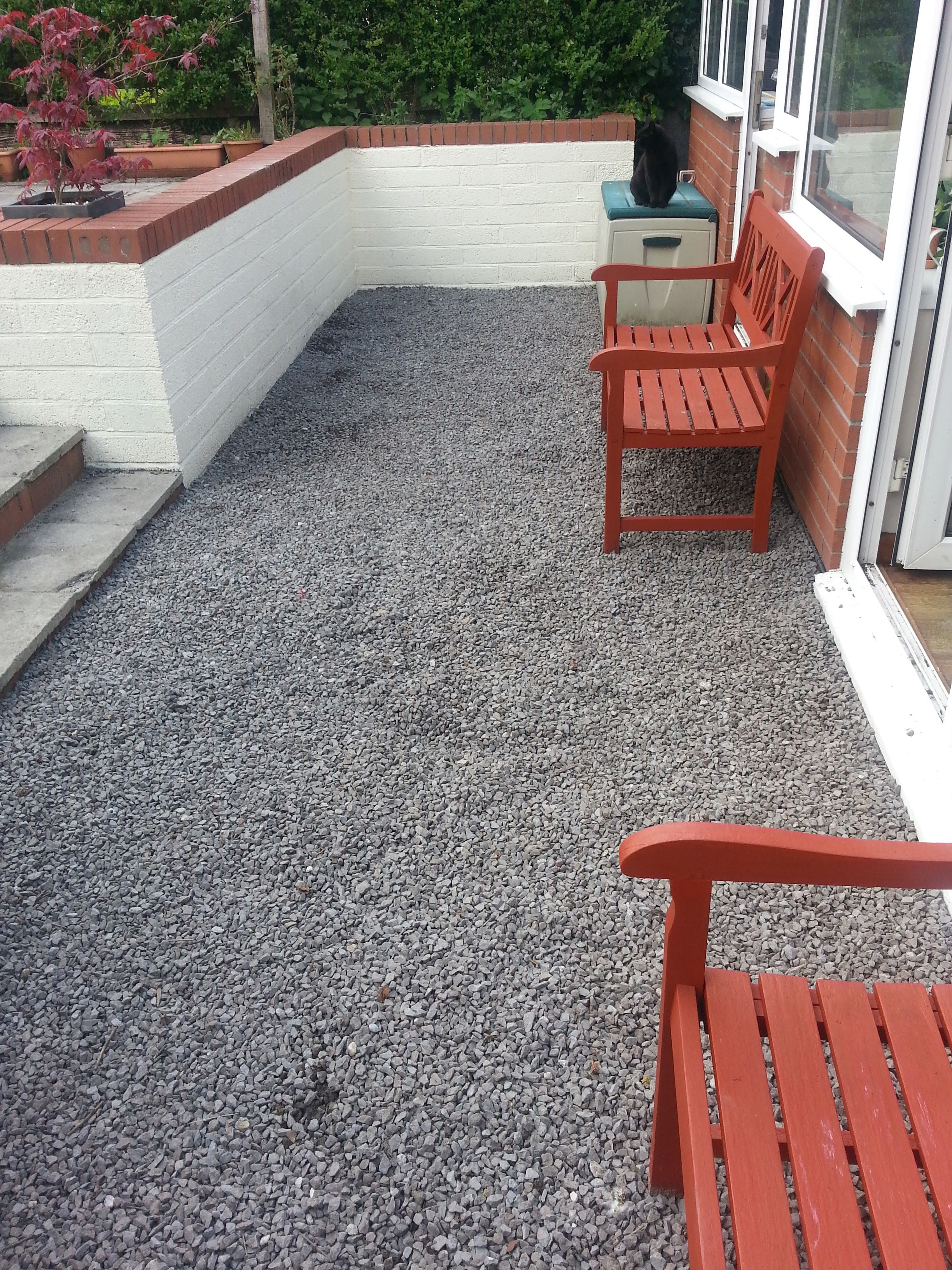 Blue Stone Chippings To Cover Ugly Uneven Patio