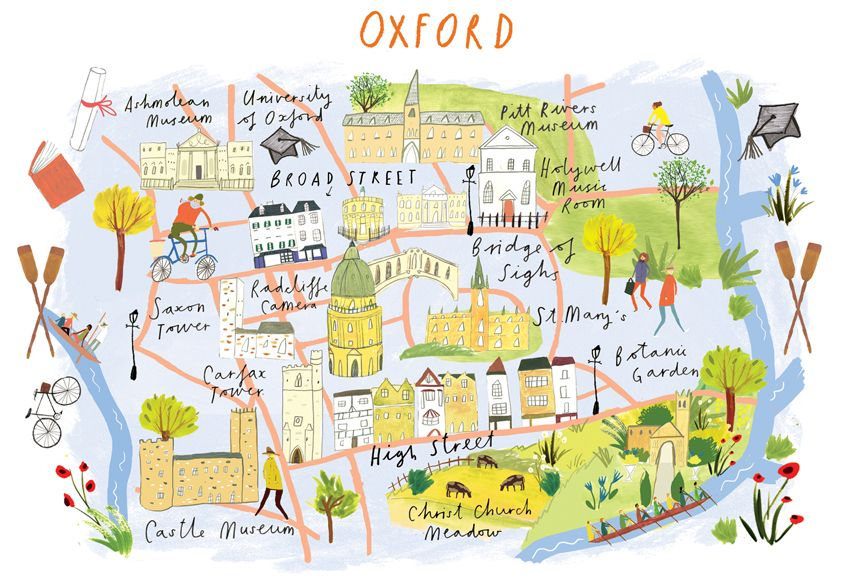 Clair Rossiter Map Of Oxford For The Art Group Illustrierte