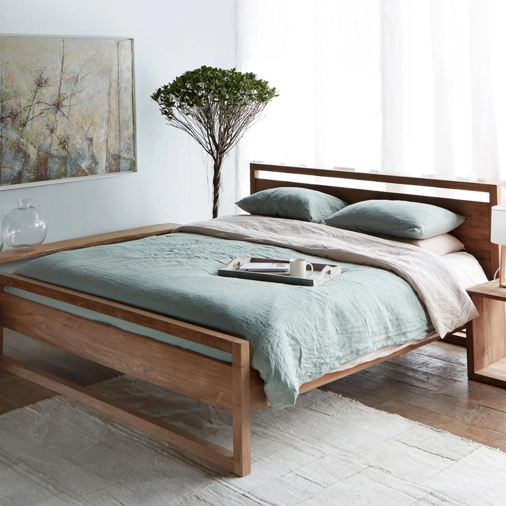 Teak Bed Frame Light Frame Bed Singapore Size In 2020 Bed Frame Queen Bed Frame Beds Australia