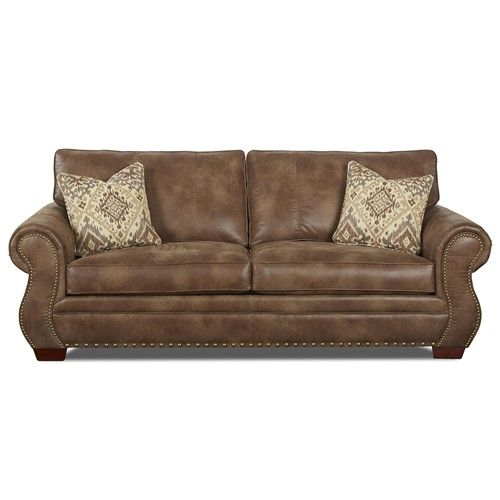 klaussner blackburn traditional sofa with rolled arms and nailhead