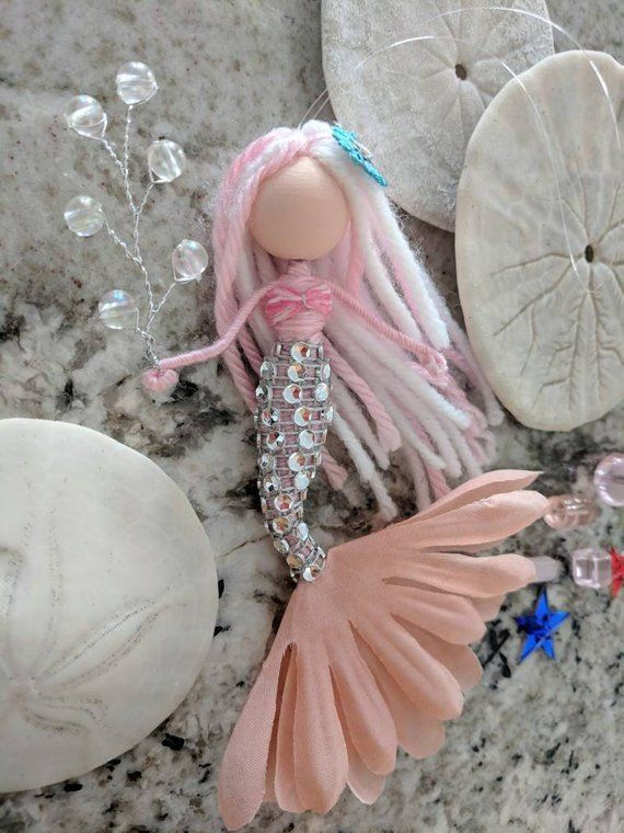 Mermaid fairy doll, flower fairy doll, handmade mermaid doll, pink mermaid, mermaid ornament, Christmas mermaid, mini mermaid #dollcare