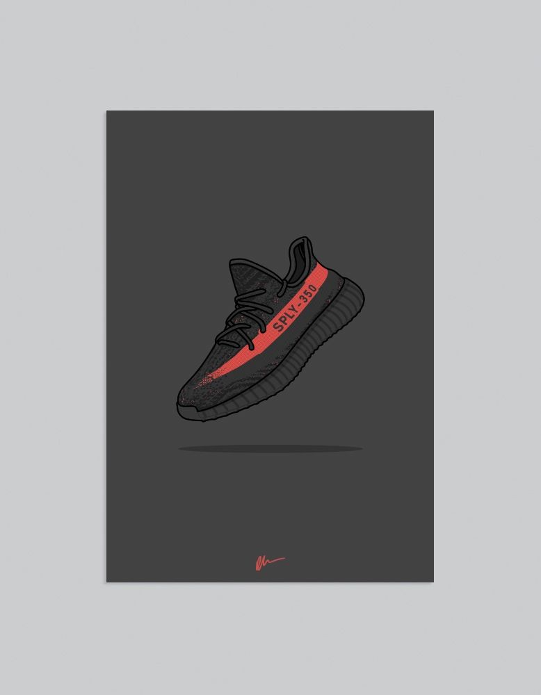 Image of ★ NEW ★ Yeezy 350 v2 Black Red Sneaker art