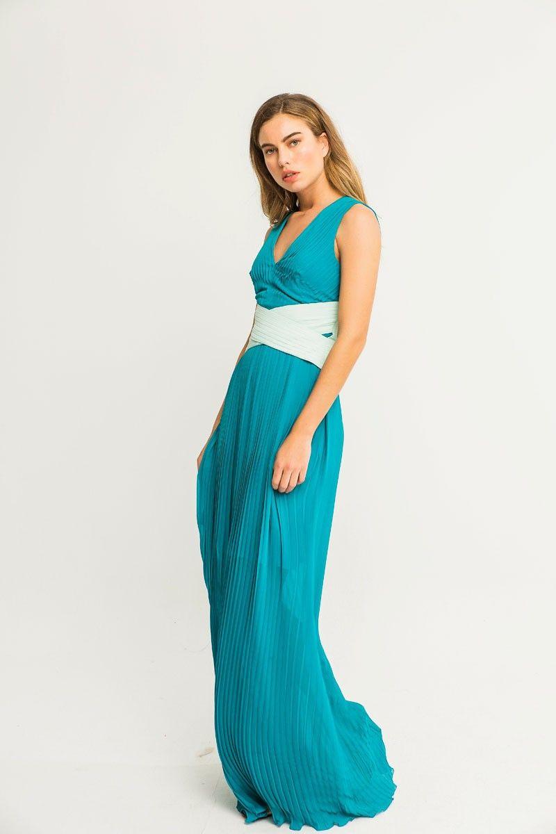 Vestido Plisado Fajin Cruzado Aurora | Plisado, Verde azulado y ...