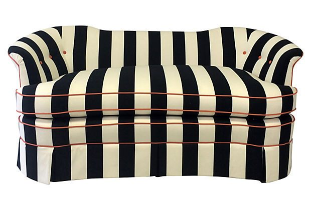 Black Amp White Striped Settee Described By Finds Collection