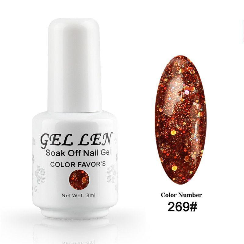 Gel Len Golden Glitter Nail Gel Polish UV LED Gel Varnish Long Lasting DIY Nail Art Soak Off Gel Nail Polish