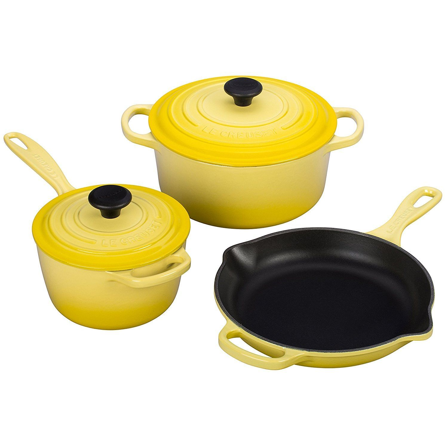 Le Creuset of America 5 Piece Signature Enameled Cast Iron ...