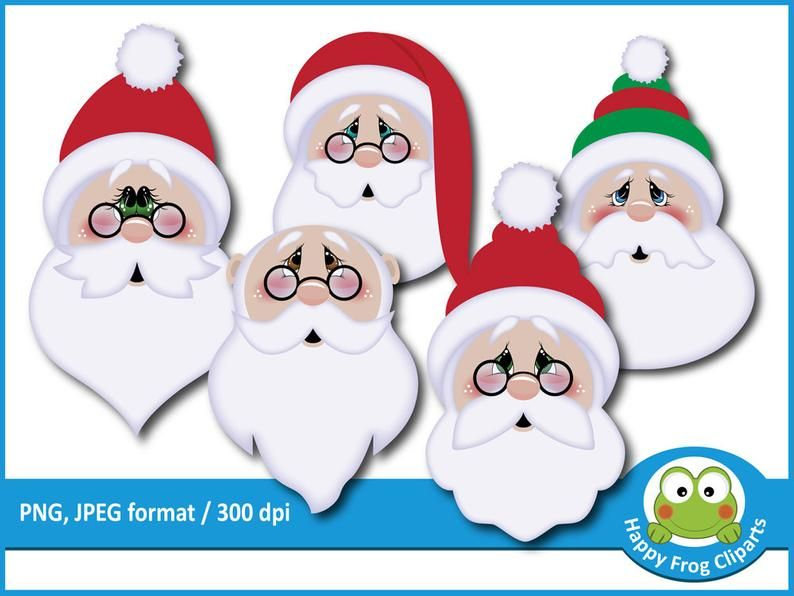 Santa Claus Faces Hfc 050 Instant Download Clipart Etsy In 2021 Santa Face Christmas Craft Projects Christmas Crafts