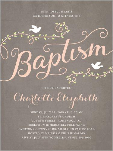 Faithful Flight Girl 4x5 Christening Invitations Growing