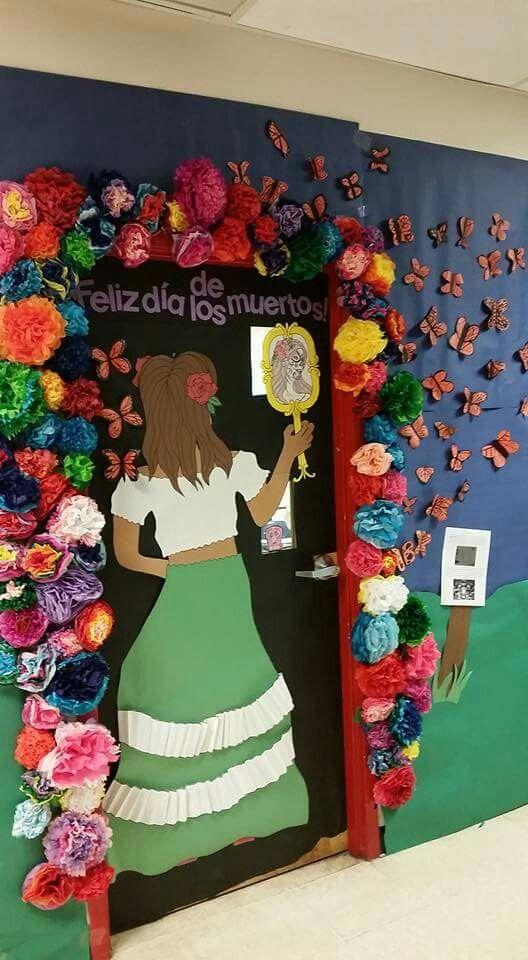 Classroom Decoration Ideas For Quinceaneras ~ Dia de los muertos classroom door decoration school