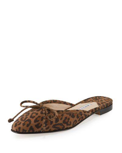 X37WU Manolo Blahnik Suede Bow Ballerina Mule Flat, Leopard