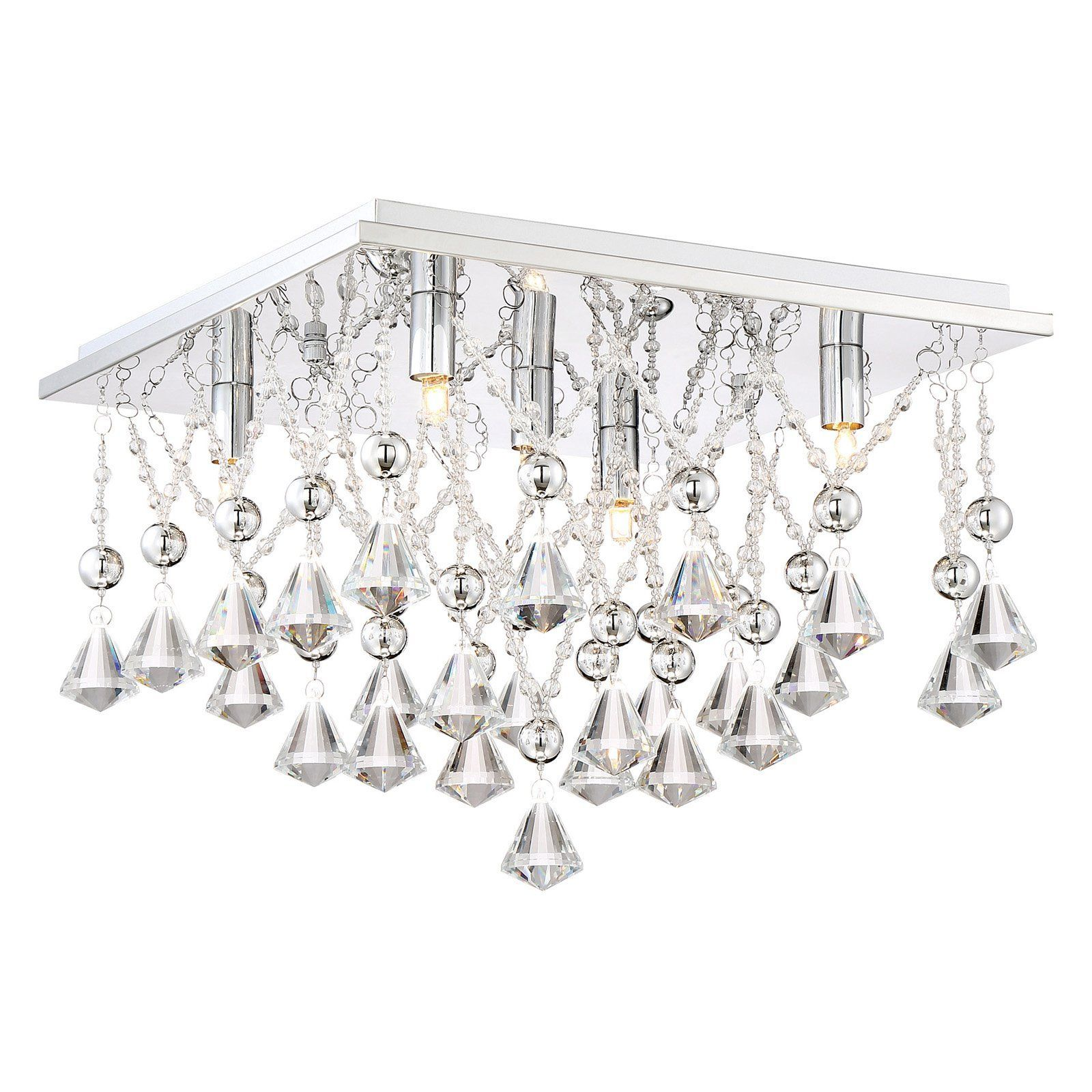 Quoizel Platinum Collection Crystal D Polished Chrome 15 Inch Five Light Flush Mount On
