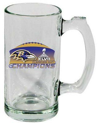 Baltimore Ravens Superbowl Super Bowl XLVII 47 Champions Champs Glass Beer Mug by Hunter. $11.99. Makes a great gift.. Super Bowl XLVII 47 Champions Baltimore Ravens NFL Football Glass Beer Mug. This quality mugs holds 13 ounces and is sure to make a great gift for the fan you know!