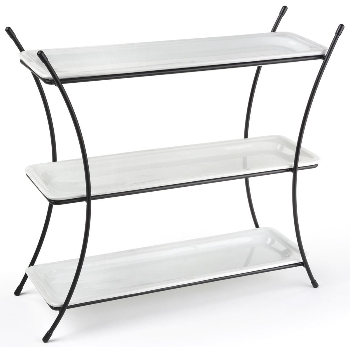 3 Tier Serving Tray Buffet Serving Stand With Porcelain Dishes
