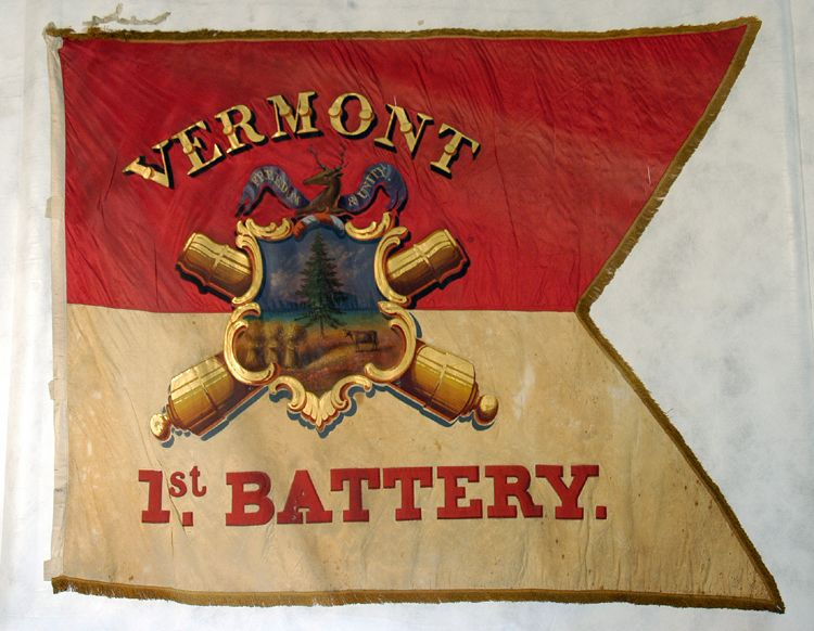 Regimental Guidon of the 1st Vermont Battery, Light Artillery.   The 1st Battery mustered into United States service on February 18, 1862, participated in the Siege of Port Hudson, from May 25 to July 9, 1863 and mustered out of service and mustered out on August 10, 1864.