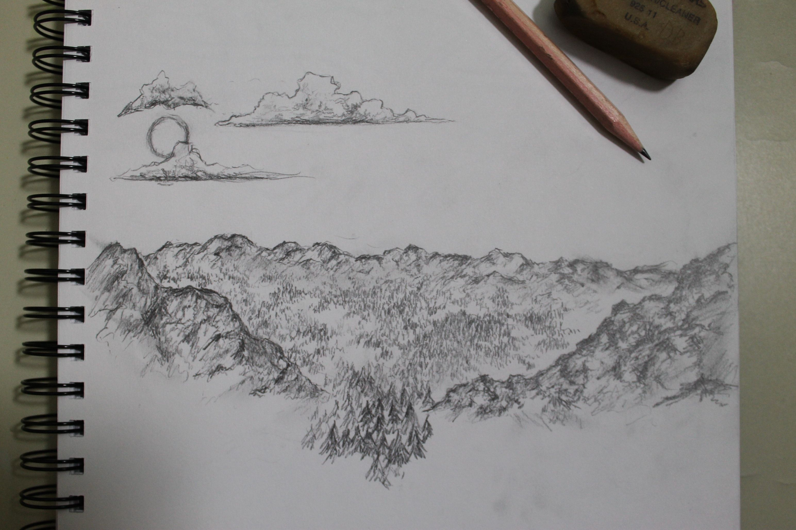 Heres a little landscape i drew offhand at school some time. I was just kinda bored at the time.