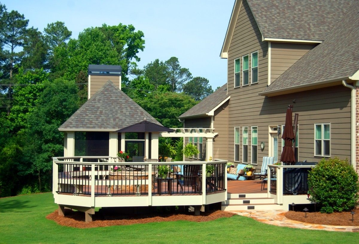 This large multilevel deck with a hip roof structure and