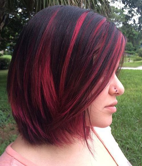40 Ideas Of Pink Highlights For Major Inspiration Black Hair Pink Highlights Hair Color Highlights Dark Hair With Highlights