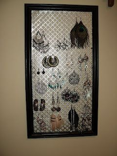 Earring Holder - Picture frame (or old window) decorative sheet metal - and WAH-LAH!
