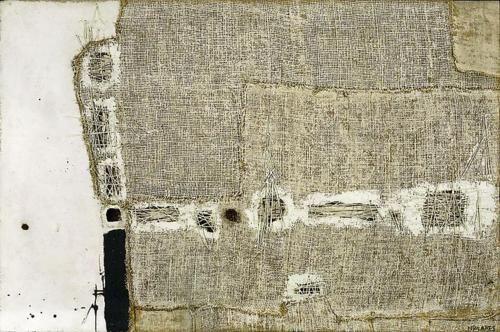 sweetpeapath:    berndwuersching:  Manolo Millares  Manolo MillaresCuadro, 1957mixed media on floorcloth97 x 147cm