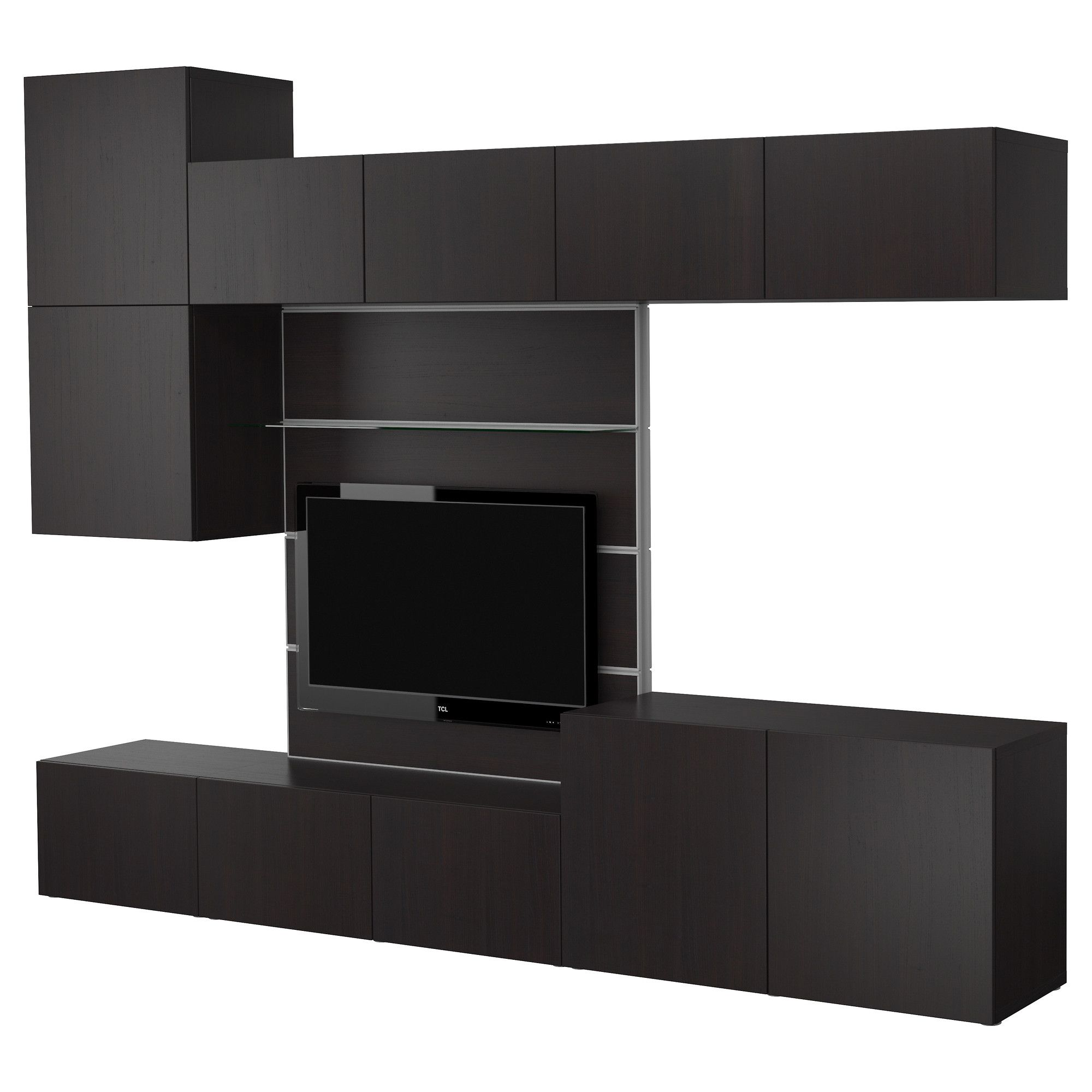3 Tetris Furniture 600 Best Tv Panel With Media Storage Black  # Meuble Tv Ikea Long