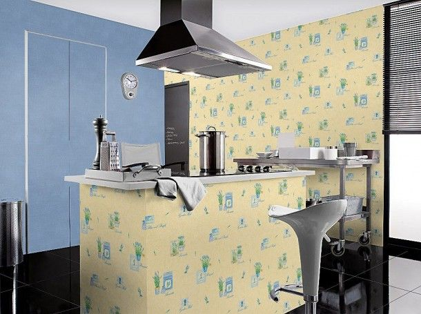 Tapete gelb blau Natur Aqua Relief Rasch 824414 Küche