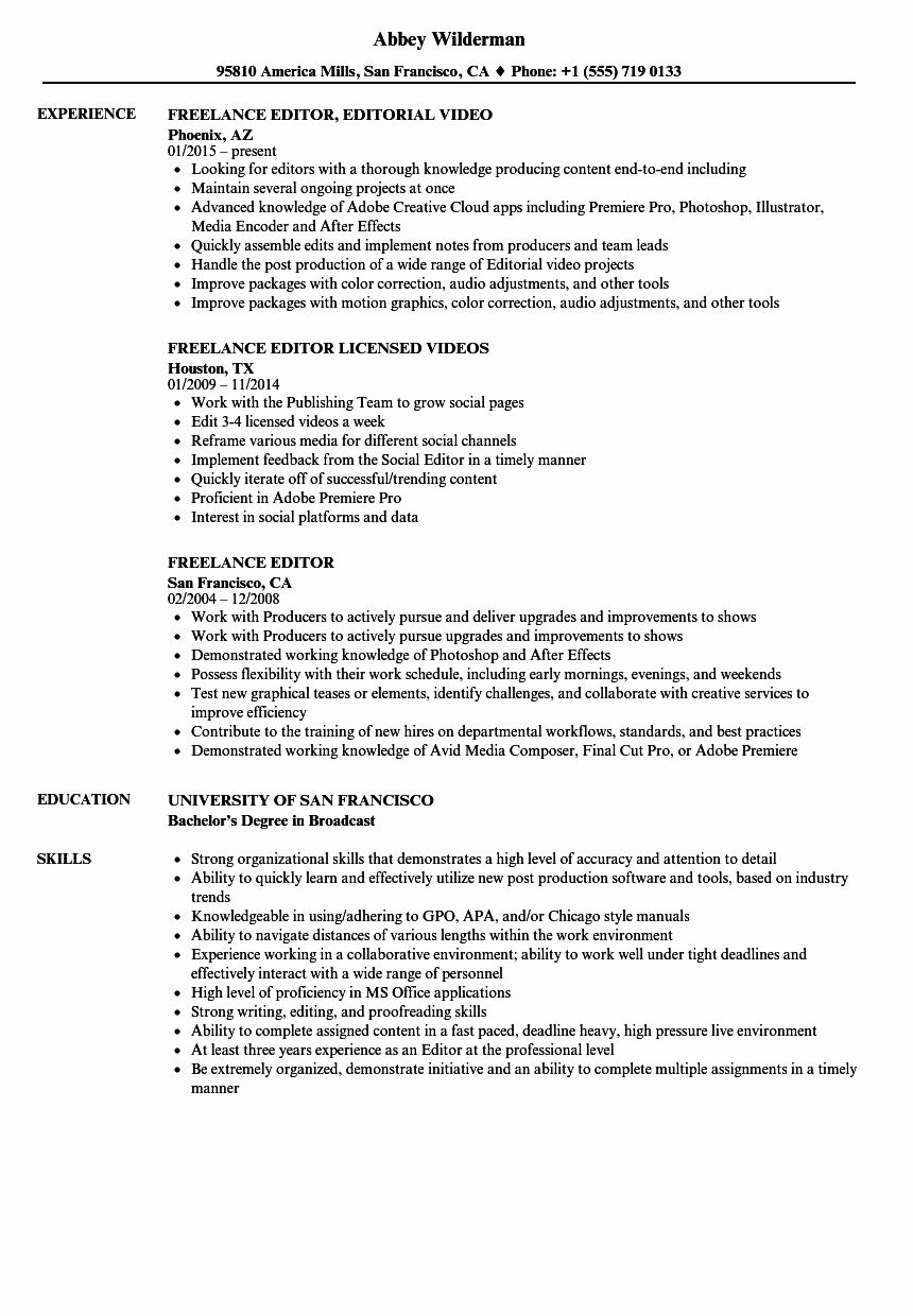 Video Editor Resume Examples Awesome Freelance Editor Resume Samples Resume Examples Video Editor Resume