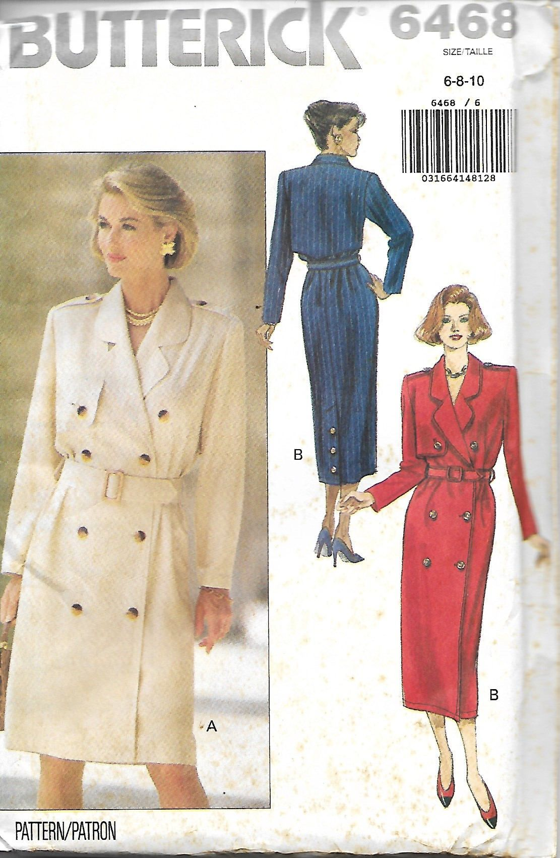 Butterick misses double breasted coat dress pattern sizes