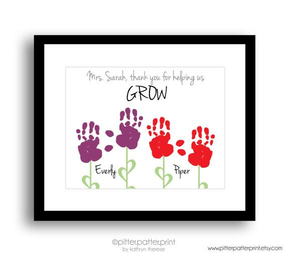 Teacher gift for nanny daycare babysitter handprint flower art gift for teacher nanny daycare babysitter by pitterpatterprint negle Images