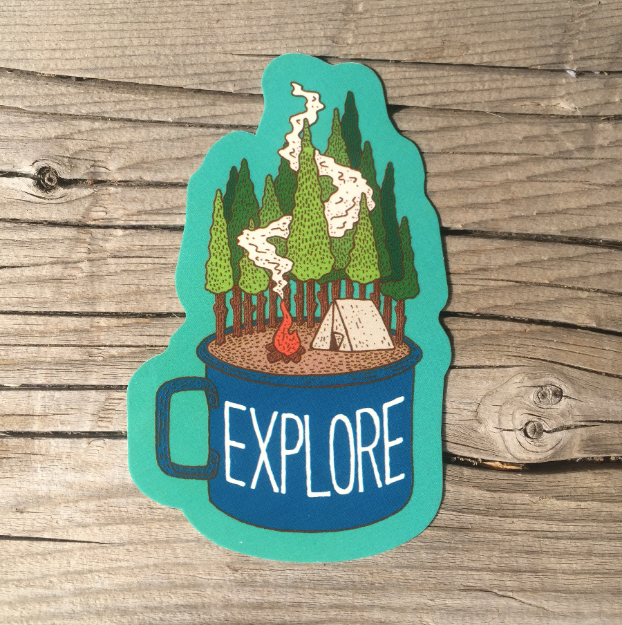 A camping sticker for the wilderness lovers an outdoor sticker great for water bottles laptops mugs and cars tent camping sticker with trees and fire