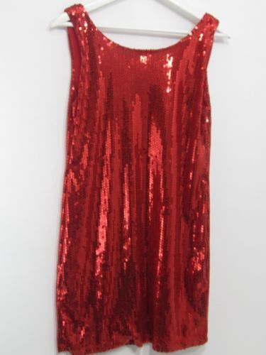 RED-SEQUIN-SLEEVELESS-SHIFT-DRESS-SIZE-SMALL