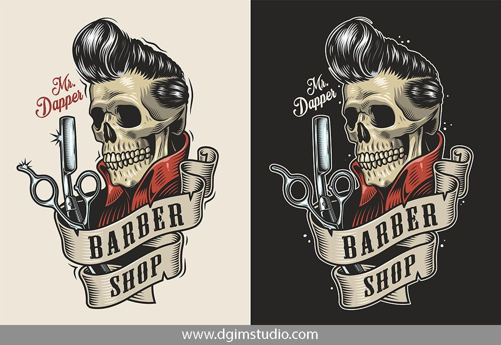 Old School Style Colorful Barber Shop Emblem Of A Skull With A Great Haircut Editable Text High Quality C Barber Shop Mens Hairstyles Short Mens Hairstyles