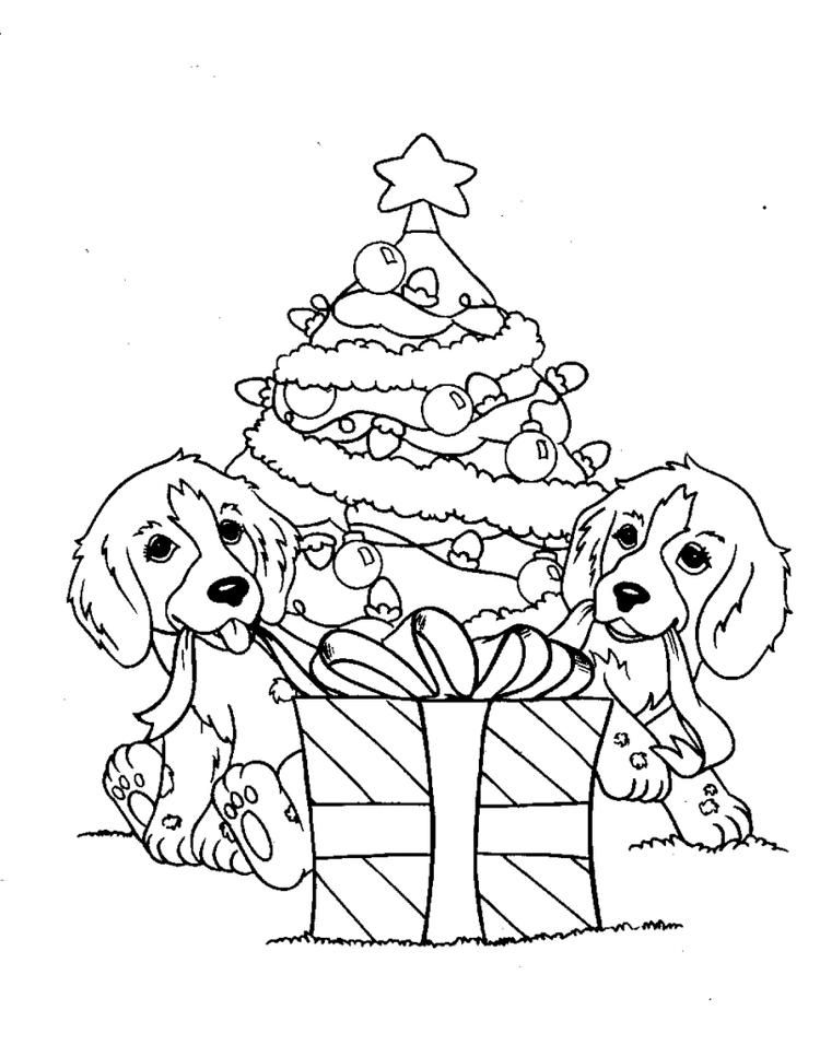 Dog Coloring Pages Christmas Tree And Gift In 2020 Puppy Coloring Pages Printable Christmas Coloring Pages Dog Coloring Page