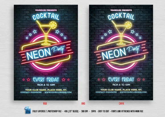 Neon Cocktail Party Flyer by @Graphicsauthor Templates Pinterest