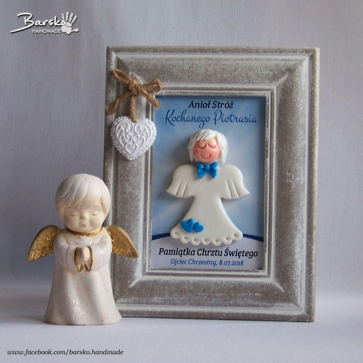 Pamiatka Chrztu Swietego Aniol Aniolek Chrzest Handmade