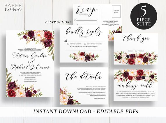 Printable Wedding Suite Template Editable by PaperMinxPrintables