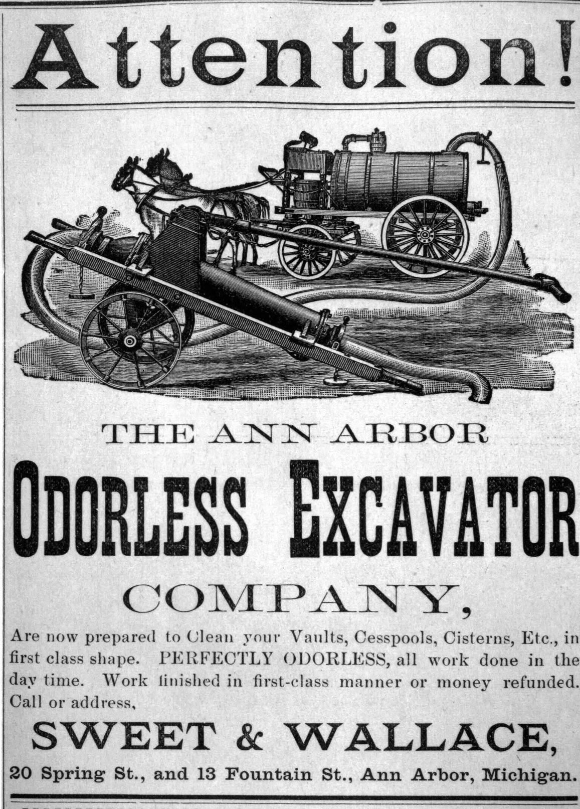 attention the ann arbor odorless excavator company ann arbor daily courier 1895 http