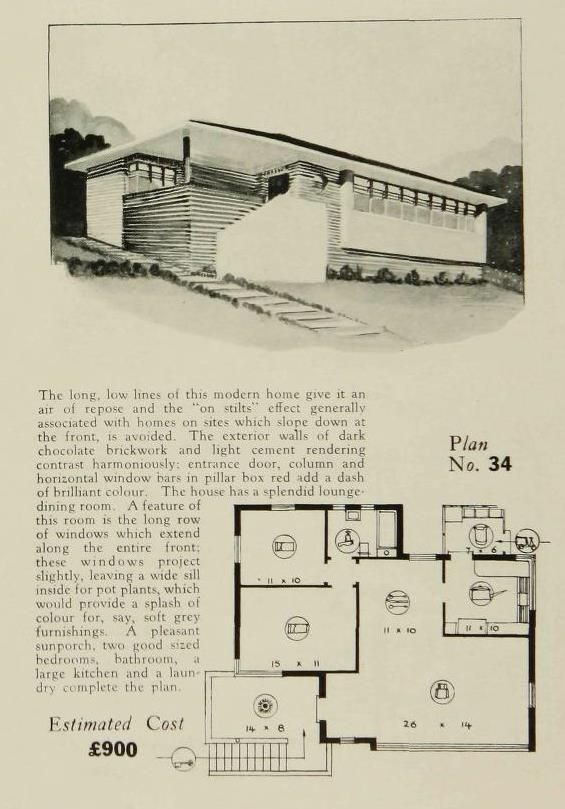 Http Www Artdecoresource Com 2014 03 Even More Art Deco And Art Moderne Home Html Vintage House Plans Small House Floor Plans Modern Floor Plans