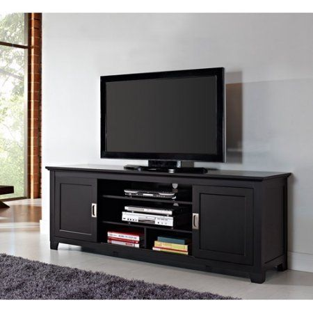 Black Wood Tv Stand With Sliding Doors For Tvs Up To 70 Inch