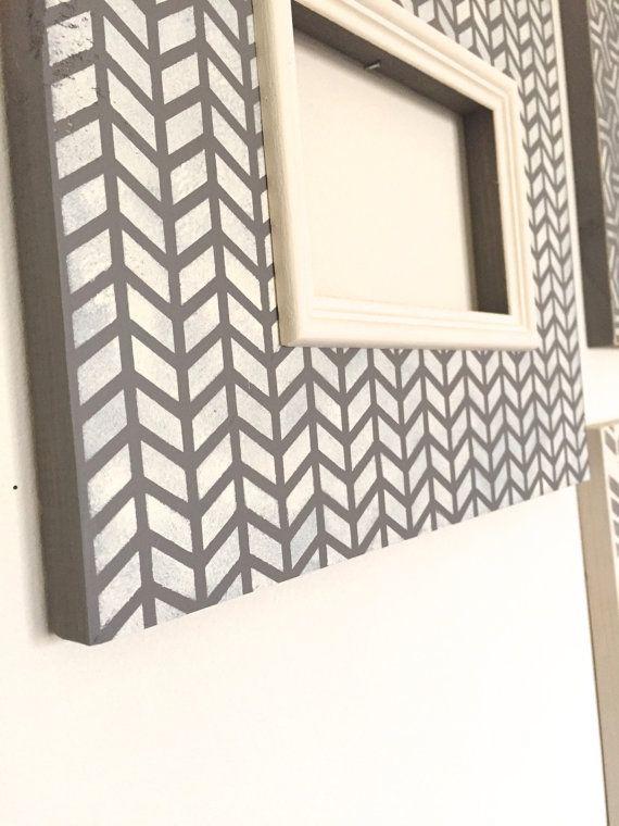 White Herringbone 4x6 Lightly Distressed Wood Frame by inframed ...