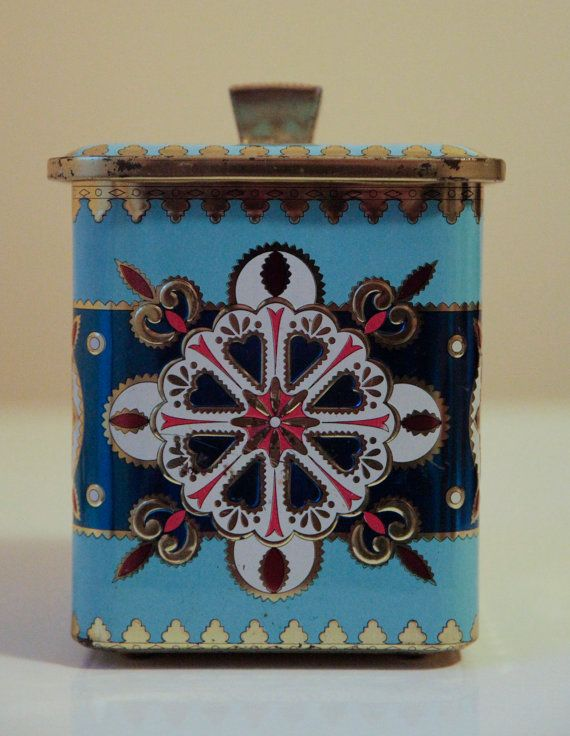 Blue Pink and Gold Tea Tin by KTsVersion on Etsy